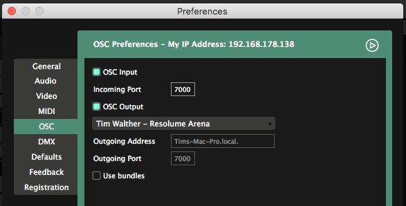 OSC - Resolume VJ Software